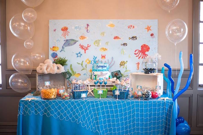 Dessert table from a Bubbly Under the Sea Birthday Party on Kara's Party Ideas | KarasPartyIdeas.com (11)