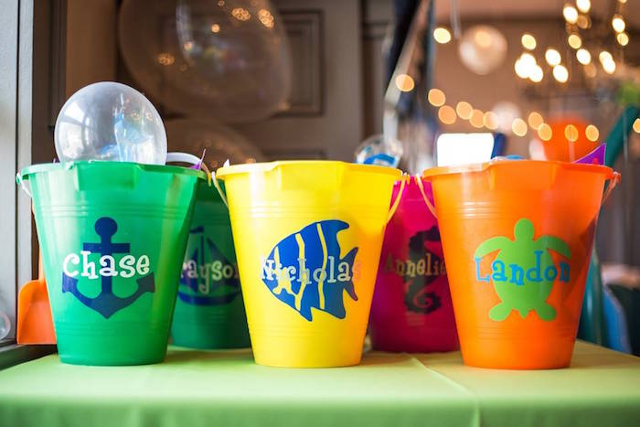 Beach pail favors from a Bubbly Under the Sea Birthday Party on Kara's Party Ideas | KarasPartyIdeas.com (10)