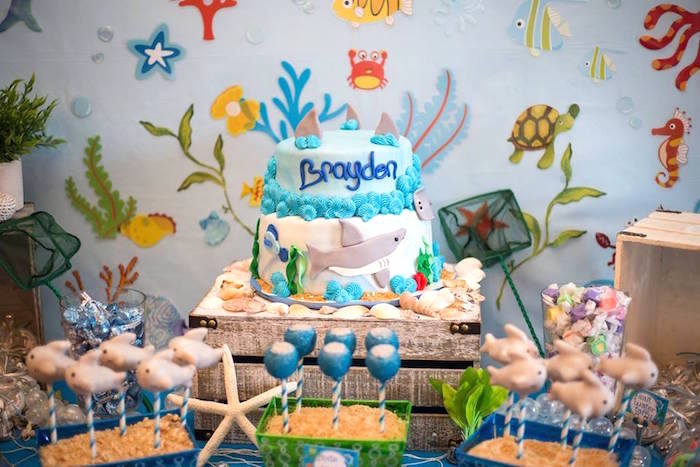 Cakescape from a Bubbly Under the Sea Birthday Party on Kara's Party Ideas | KarasPartyIdeas.com (6)