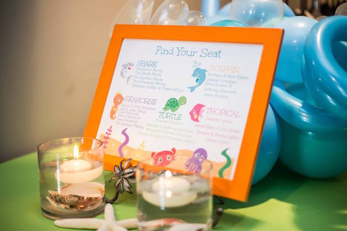 Sea Creature Seating Chart from a Bubbly Under the Sea Birthday Party on Kara's Party Ideas | KarasPartyIdeas.com (3)