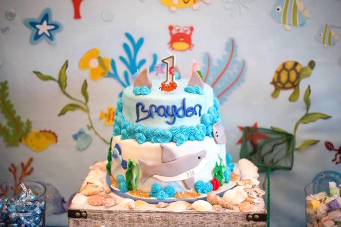 Under the Sea cake from a Bubbly Under the Sea Birthday Party on Kara's Party Ideas | KarasPartyIdeas.com (39)