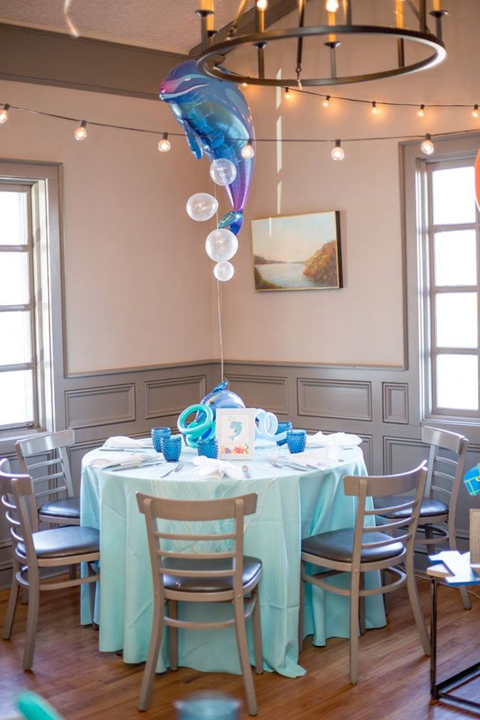Dolphin guest table from a Bubbly Under the Sea Birthday Party on Kara's Party Ideas | KarasPartyIdeas.com (2)