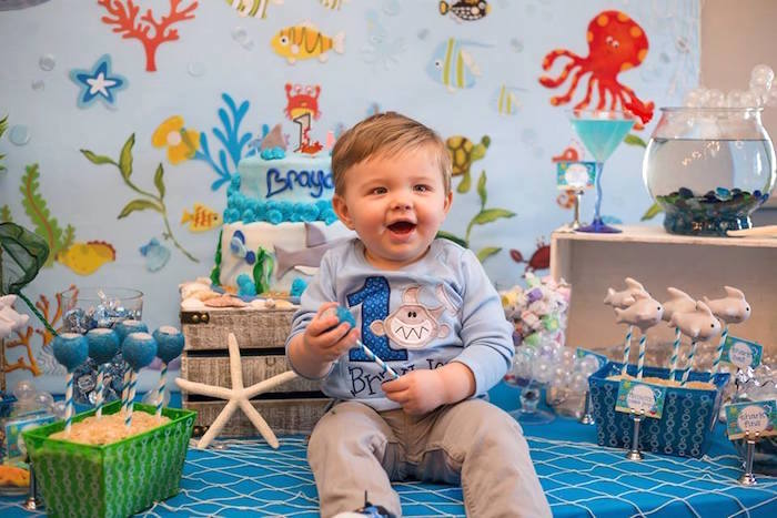 Custom under the sea sweater from a Bubbly Under the Sea Birthday Party on Kara's Party Ideas | KarasPartyIdeas.com (38)
