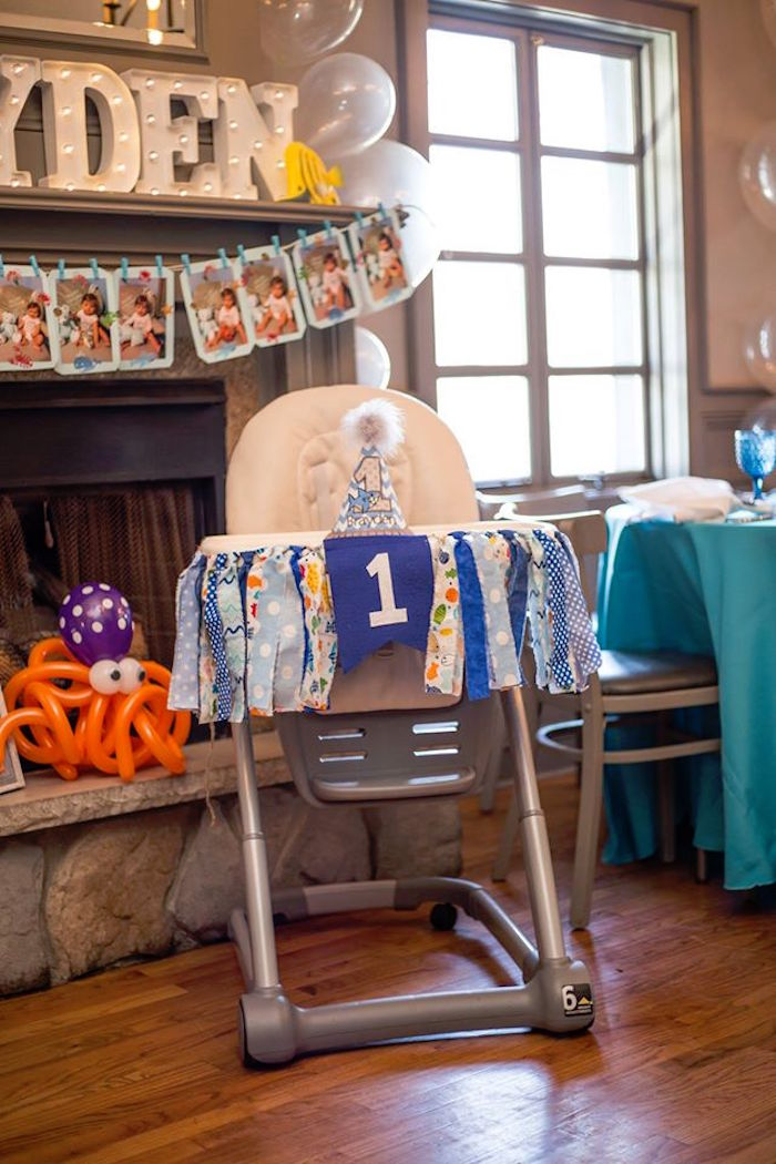 High chair from a Bubbly Under the Sea Birthday Party on Kara's Party Ideas | KarasPartyIdeas.com (37)