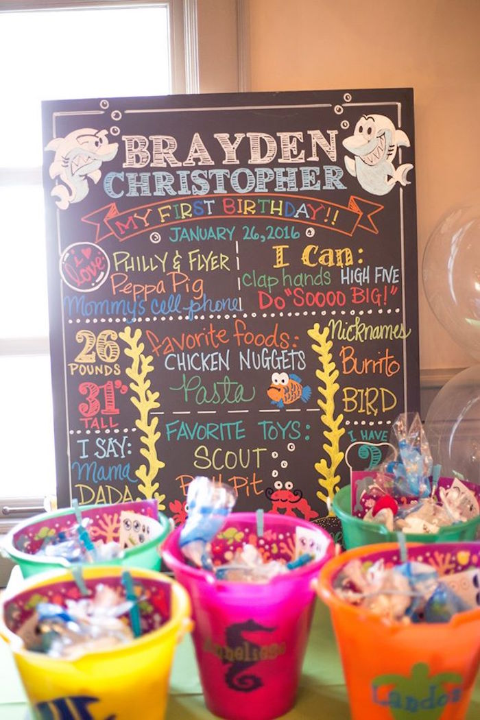 Favor beach pails from a Bubbly Under the Sea Birthday Party on Kara's Party Ideas | KarasPartyIdeas.com (36)