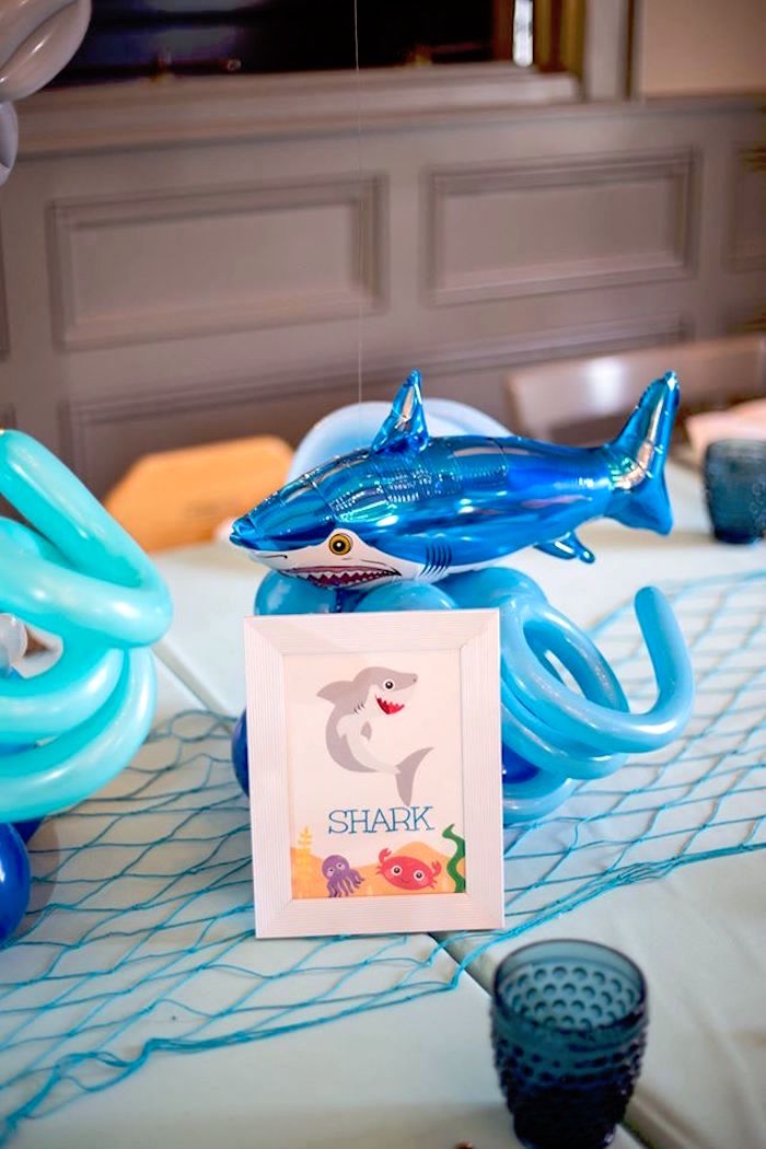 Shark table sign + balloon centerpiece from a Bubbly Under the Sea Birthday Party on Kara's Party Ideas | KarasPartyIdeas.com (34)
