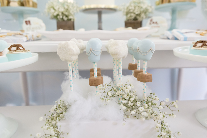 Hot air balloon & cloud cake pops from a Bunny Hot Air Balloon Birthday Party on Kara's Party Ideas | KarasPartyIdeas.com (26)