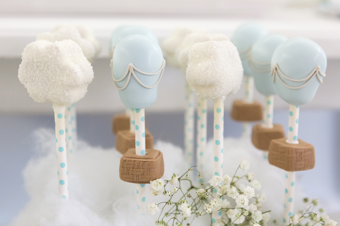 Hot air balloon & cloud cake pops from a Bunny Hot Air Balloon Birthday Party on Kara's Party Ideas | KarasPartyIdeas.com (25)