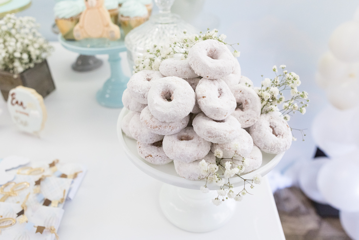 Mini powdered doughnuts from a Bunny Hot Air Balloon Birthday Party on Kara's Party Ideas | KarasPartyIdeas.com (38)