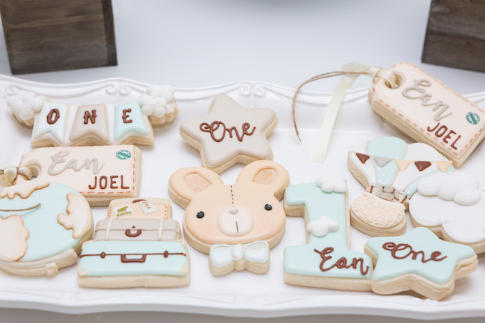Custom cookies from a Bunny Hot Air Balloon Birthday Party on Kara's Party Ideas | KarasPartyIdeas.com (16)