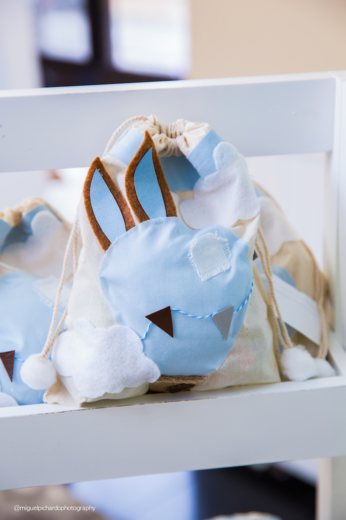 Blue bunny favor bags from a Bunny Hot Air Balloon Birthday Party on Kara's Party Ideas | KarasPartyIdeas.com (12)