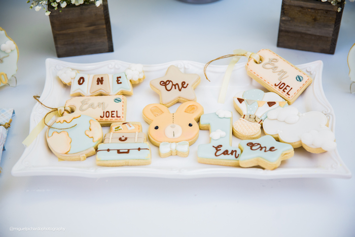 Cookies from a Bunny Hot Air Balloon Birthday Party on Kara's Party Ideas | KarasPartyIdeas.com (9)