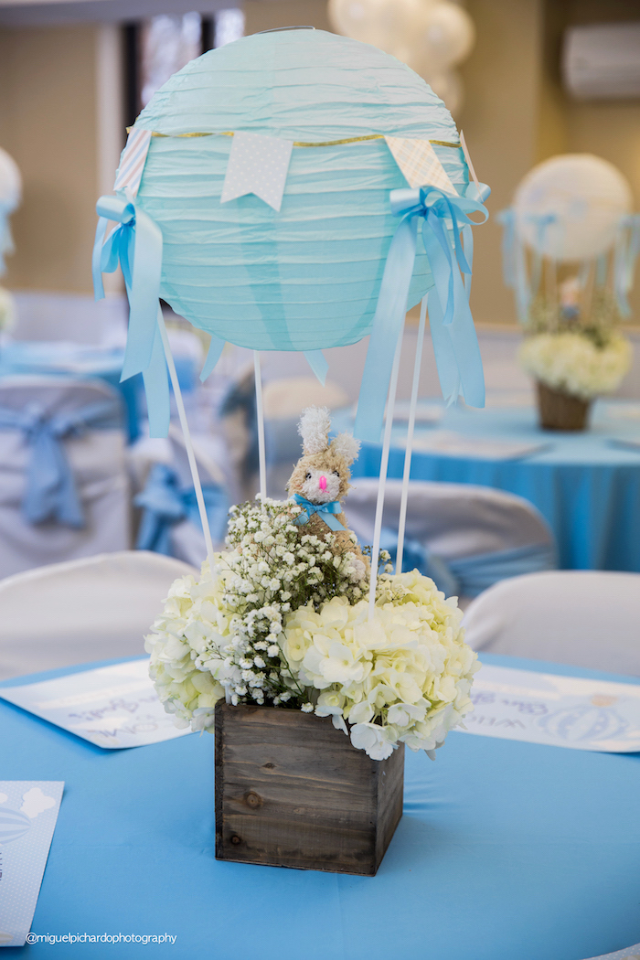 Floral hot air balloon table centerpiece from a Bunny Hot Air Balloon Birthday Party on Kara's Party Ideas | KarasPartyIdeas.com (7)