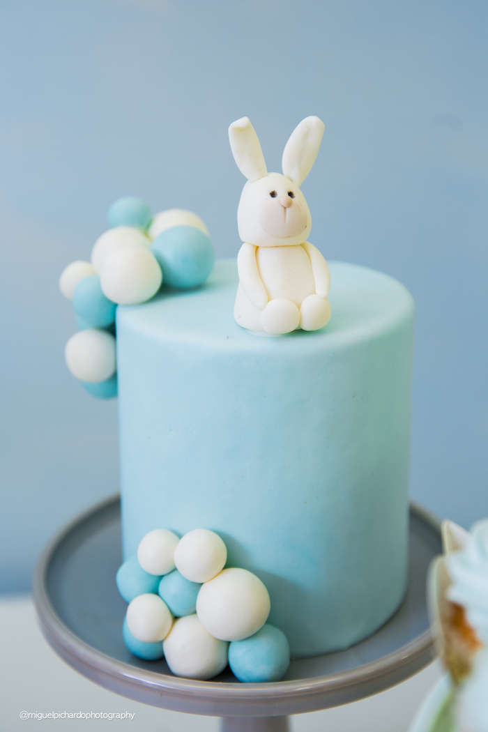 Bunny balloon smash cake from a Bunny Hot Air Balloon Birthday Party on Kara's Party Ideas | KarasPartyIdeas.com (5)