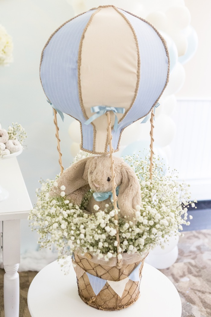 Hot air balloon centerpiece from a Bunny Hot Air Balloon Birthday Party on Kara's Party Ideas | KarasPartyIdeas.com (34)