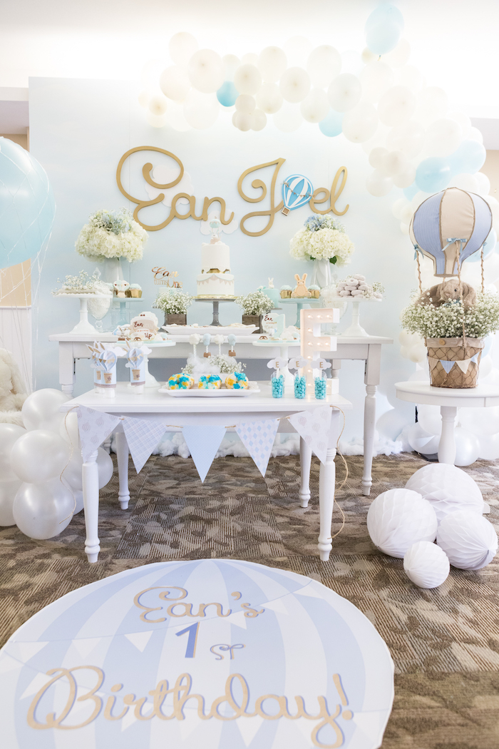 Dessert table from a Bunny Hot Air Balloon Birthday Party on Kara's Party Ideas | KarasPartyIdeas.com (31)