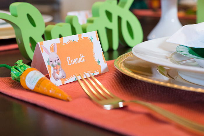 Bunny place card from a Carrot Patch Easter Party with FREE Printables on Kara's Party Ideas | KarasPartyIdeas.com (17)