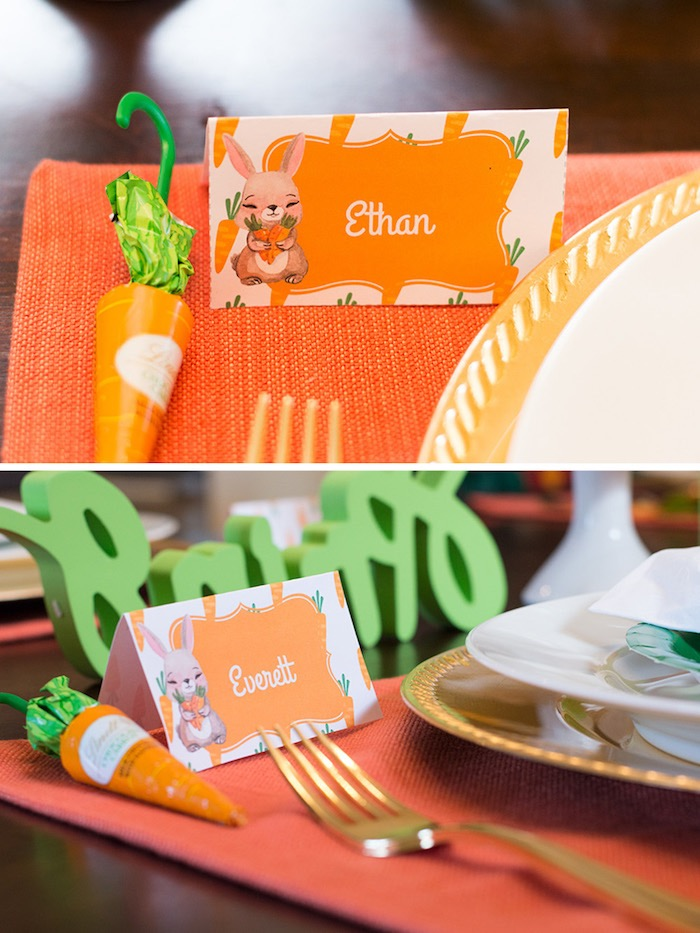 Easter place cards from a Carrot Patch Easter Party with FREE Printables on Kara's Party Ideas | KarasPartyIdeas.com (16)