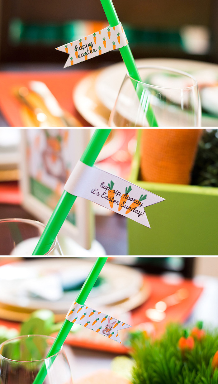 Easter straw flags from a Carrot Patch Easter Party with FREE Printables on Kara's Party Ideas | KarasPartyIdeas.com (14)