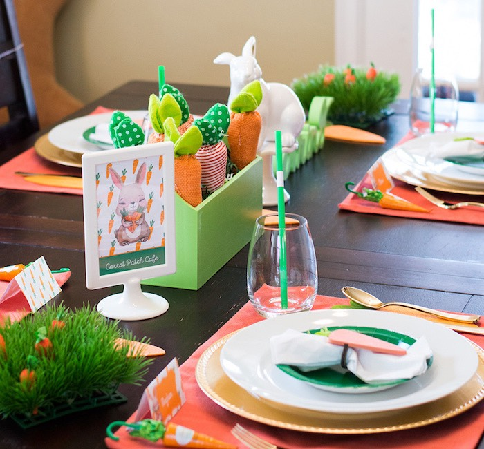 Easter table detail from a Carrot Patch Easter Party with FREE Printables on Kara's Party Ideas | KarasPartyIdeas.com (12)