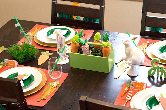Easter tabletop from a Carrot Patch Easter Party with FREE Printables on Kara's Party Ideas | KarasPartyIdeas.com (9)