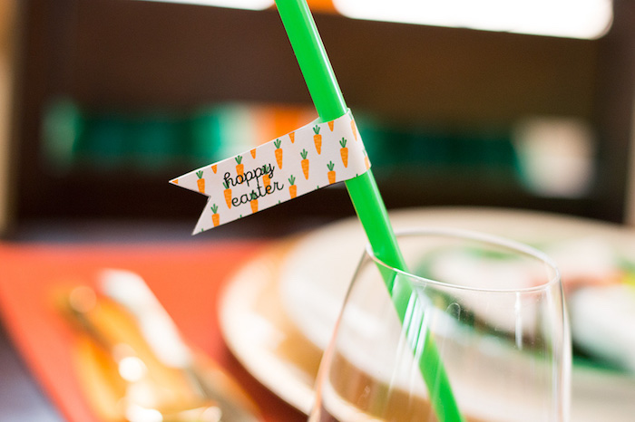 Easter straw flag from a Carrot Patch Easter Party with FREE Printables on Kara's Party Ideas   KarasPartyIdeas.com (6)