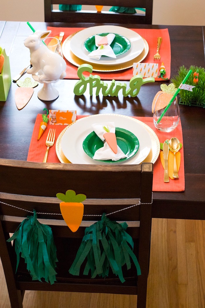 Easter table from a Carrot Patch Easter Party with FREE Printables on Kara's Party Ideas | KarasPartyIdeas.com (5)