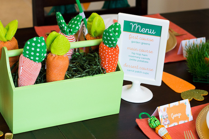Plush carrots from a Carrot Patch Easter Party with FREE Printables on Kara's Party Ideas | KarasPartyIdeas.com (4)