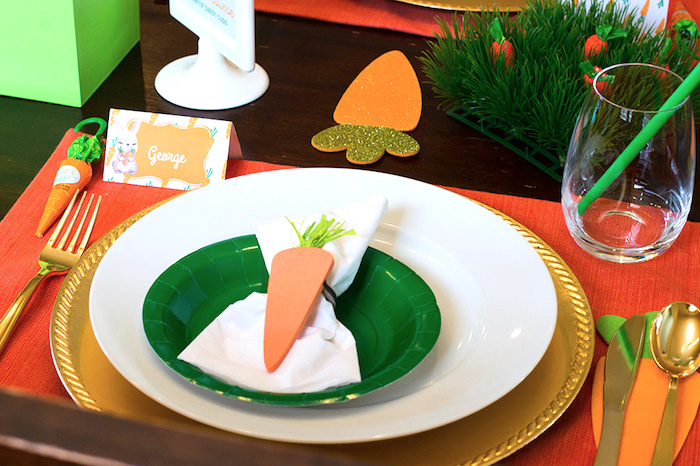 Easter table setting from a Carrot Patch Easter Party with FREE Printables on Kara's Party Ideas | KarasPartyIdeas.com (3)