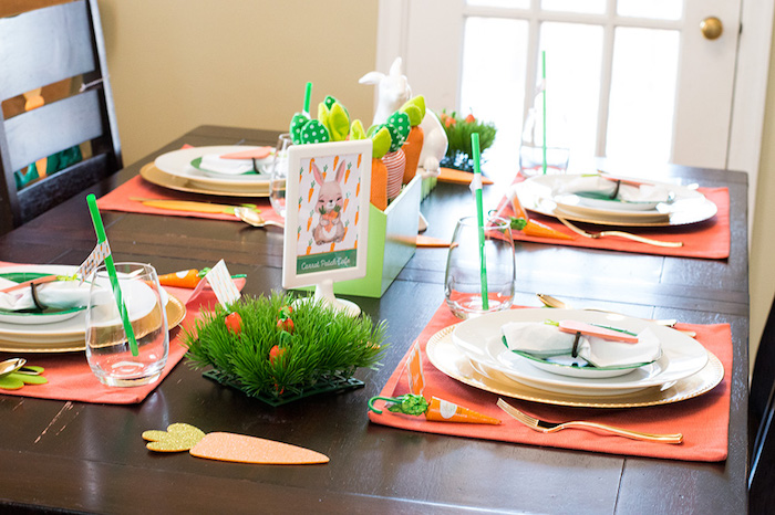 Easter Party Table from a Carrot Patch Easter Party with FREE Printables on Kara's Party Ideas | KarasPartyIdeas.com (24)