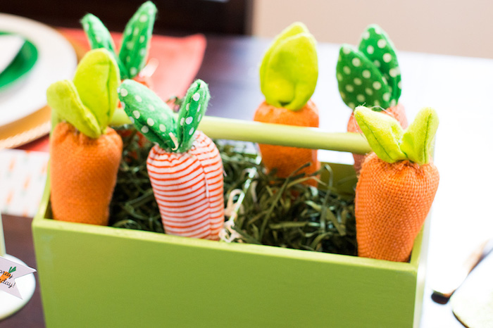 Plush carrots from a Carrot Patch Easter Party with FREE Printables on Kara's Party Ideas | KarasPartyIdeas.com (22)