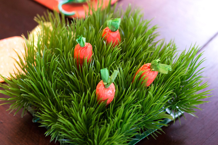Carrot patch centerpiece from a Carrot Patch Easter Party with FREE Printables on Kara's Party Ideas | KarasPartyIdeas.com (21)