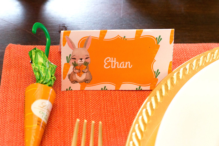 Bunny place card from a Carrot Patch Easter Party with FREE Printables on Kara's Party Ideas | KarasPartyIdeas.com (18)