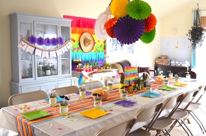 Guest table from a Colorful Fiesta Birthday Party on Kara's Party Ideas | KarasPartyIdeas.com (22)