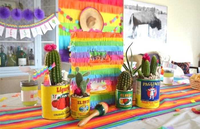 Pinata letter and cactus centerpiece from a Colorful Fiesta Birthday Party on Kara's Party Ideas | KarasPartyIdeas.com (21)
