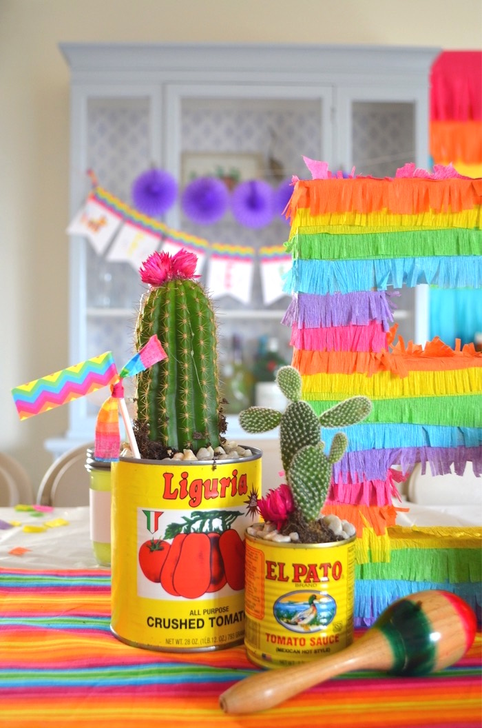 Cactus centerpiece from a Colorful Fiesta Birthday Party on Kara's Party Ideas | KarasPartyIdeas.com (20)