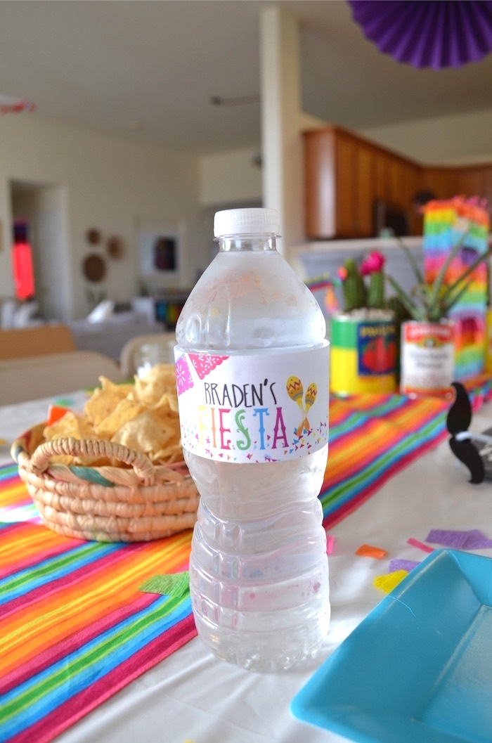 Water bottle from a Colorful Fiesta Birthday Party on Kara's Party Ideas | KarasPartyIdeas.com (19)