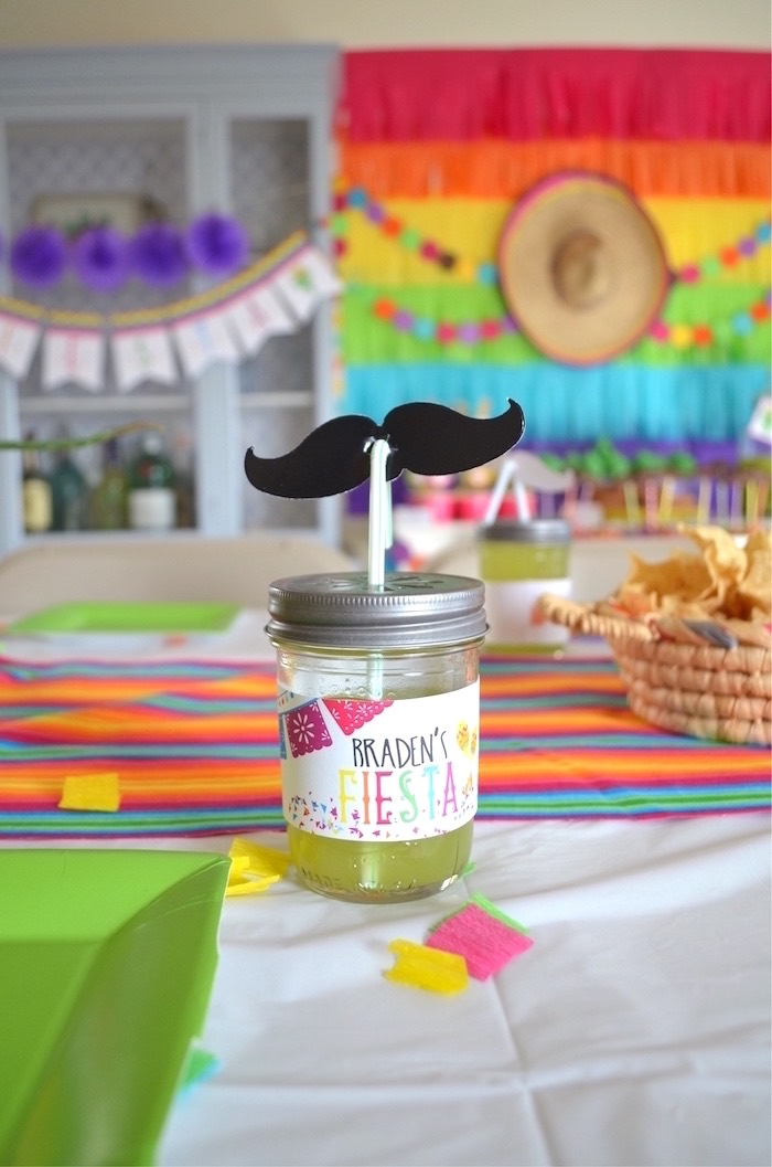 Mason jar mustache drink from a Colorful Fiesta Birthday Party on Kara's Party Ideas | KarasPartyIdeas.com (17)
