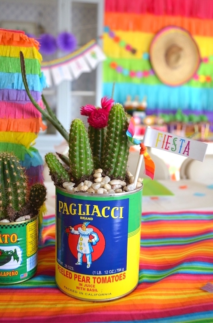 Can cactus from a Colorful Fiesta Birthday Party on Kara's Party Ideas | KarasPartyIdeas.com (16)