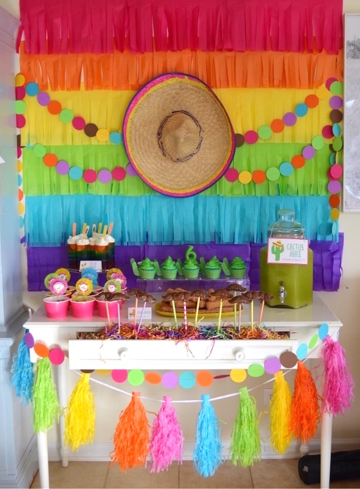 Kara39s party ideas colorful fiesta birthday party kara39s for Mexican party decorations