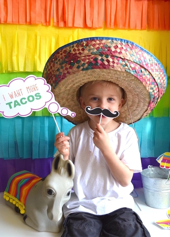 Photo booth from a Colorful Fiesta Birthday Party on Kara's Party Ideas | KarasPartyIdeas.com (14)