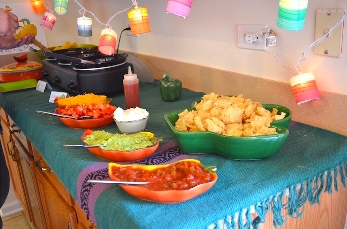 Nacho + taco soup bar from a Colorful Fiesta Birthday Party on Kara's Party Ideas | KarasPartyIdeas.com (13)