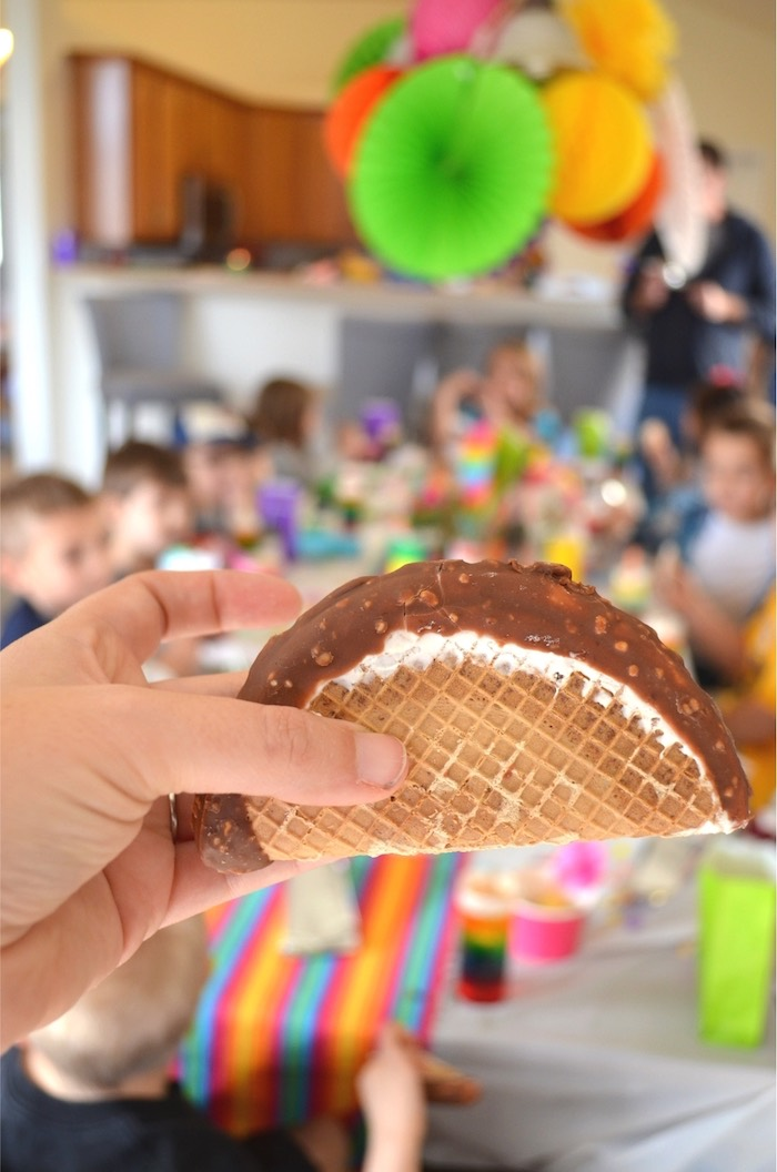 Chocolate taco from a Colorful Fiesta Birthday Party on Kara's Party Ideas | KarasPartyIdeas.com (11)