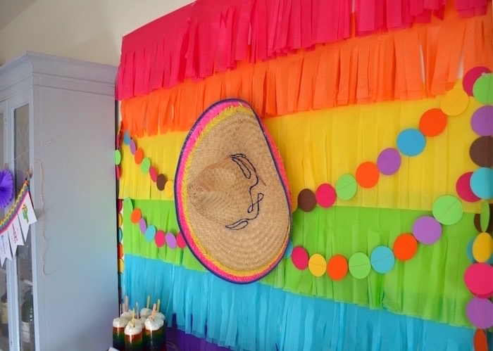 Fringe and sombrero backdrop from a Colorful Fiesta Birthday Party on Kara's Party Ideas | KarasPartyIdeas.com (31)