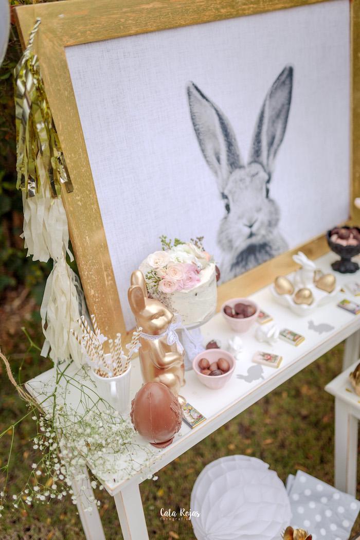 Bunny dessert tablescape from a Countryside Bunny Party via Kara's Party Ideas | KarasPartyIdeas.com (15)
