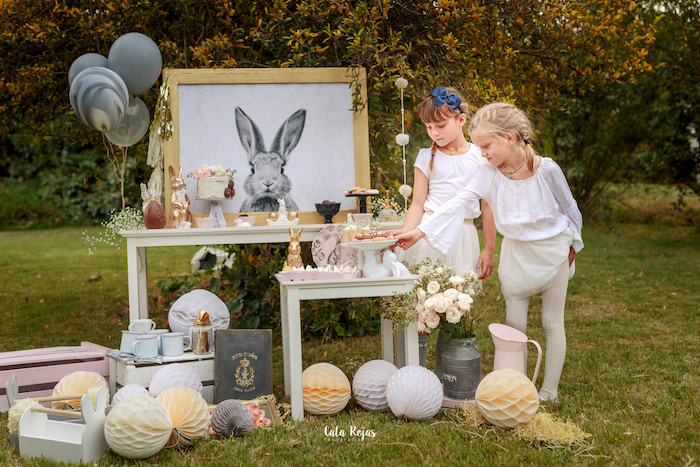 Bunny sweet tables from a Countryside Bunny Party via Kara's Party Ideas | KarasPartyIdeas.com (11)