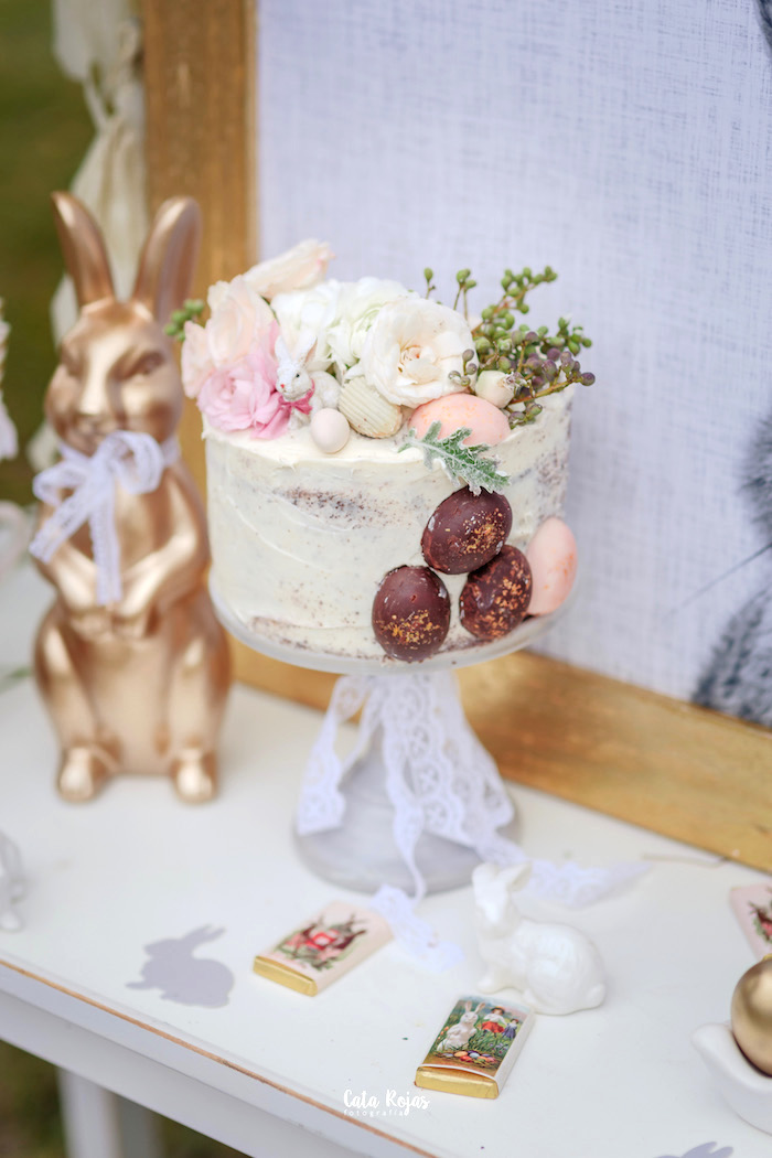 Floral cake from a Countryside Bunny Party via Kara's Party Ideas | KarasPartyIdeas.com (4)