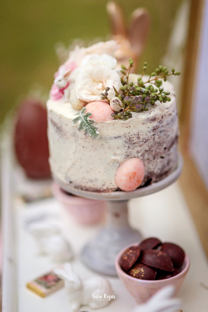 Floral cake from a Countryside Bunny Party via Kara's Party Ideas | KarasPartyIdeas.com (29)