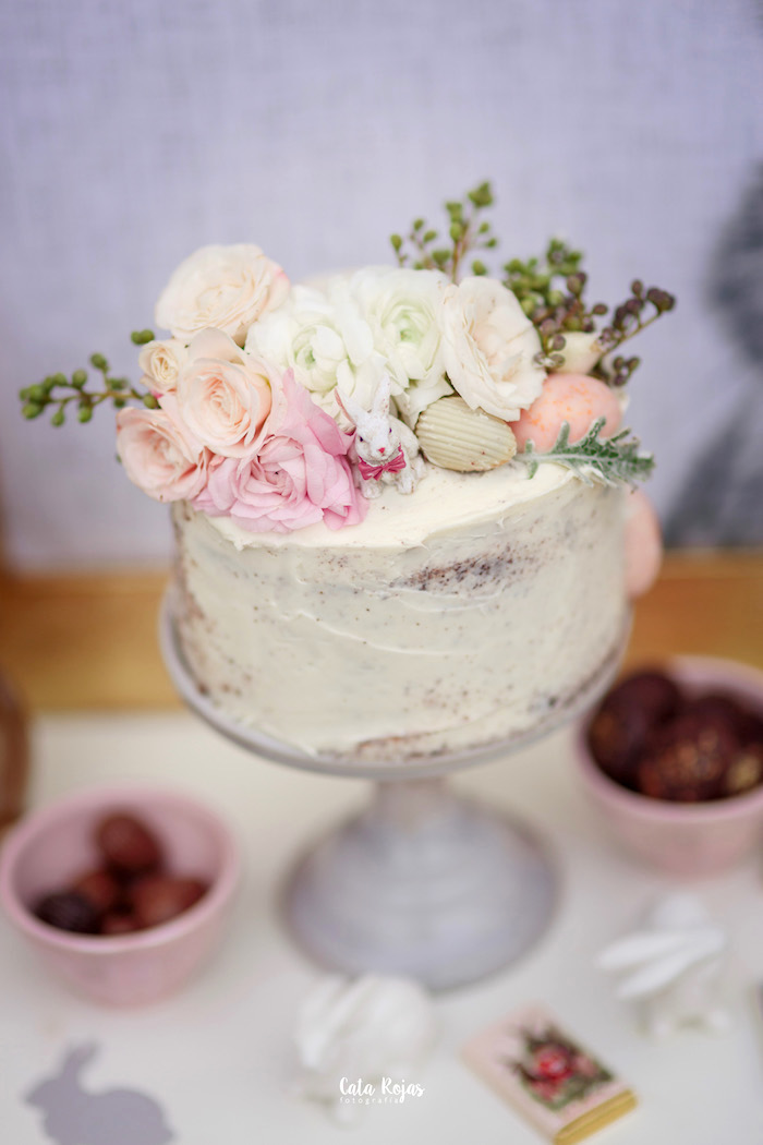 Floral cake from a Countryside Bunny Party via Kara's Party Ideas | KarasPartyIdeas.com (25)