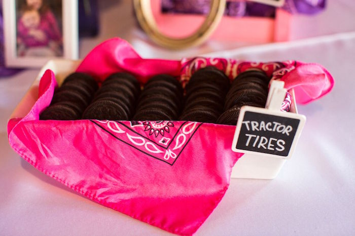 """Oreo """"tractor tires"""" from a Cowgirl Birthday Party Roundup on Kara's Party Ideas 